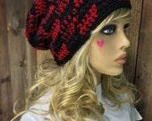 Crochet Slouchy Slouch Crochet Beanie Hipster Hat Buffalo Plaid  - ALCAN - LUMBERJACK