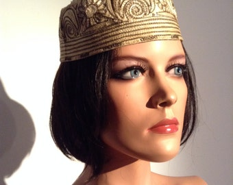 Vintage Usbeck style CAP. Embroidered cloth hat.  Champagne color.