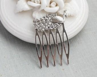 Silver Peacock Small Hair Comb