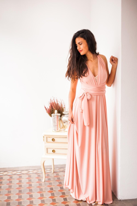 Peach Bridesmaid Dress Long Peach Dress Infinity Long Dress