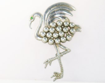 Vintage Large Art Deco Flamingo Pot Metal Brooch Pin  (B-4-4)