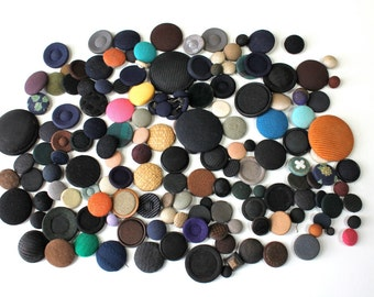 Vintage Fabric Button Lot Mixed Colors Sizes, Pad Back Button,Boho Button Lot, Sewing Craft Buttons, Scrapbook Buttons, Large Lot Buttons
