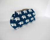 Elephant motif clutch, Indian elephant clutch, navy blue clutch, navy white clutch,  navy handbag, navy evening bag