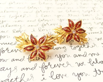 Red Flower Earrings, Christmas Flowers, Red Enamel Flower Earrings, Avon Christmas Earrings, Vintage Holiday Earrings, Red and Gold Earrings