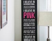 """Audrey Hepburn """"I Believe in Pink"""" Quote Black Canvas - 12x36in"""