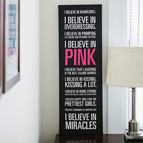 "Audrey Hepburn ""I Believe in Pink"" Quote Black Canvas - 12x36in"
