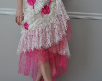 Wrap Skirt -  Ivory Lace/Pink Tulle  Wrap Ruffled Skirt, Steampunk, Bohemian, Gypsy , Wedding, Bridesmaid, Size S - XL