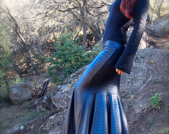 RESTOCKED: The Striped Faux Leather Mermaid Skirt by Opal Moon Designs (Sizes S-XL)