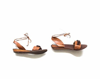 Vintage Leather Sandals 10 / Tan Leather Sandals / Ankle Tie Sandals