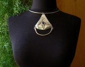 LILLO of Israel - MODERNIST Necklace - Vintage ALCHEMY Triangle Pendant - Silver Brass Collar - Blue Stone - Mystical Jewelry - Hand Crafted