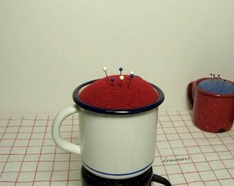 Enamelware Mug Pincushion Red White Blue Repurposed Sewing Handmade