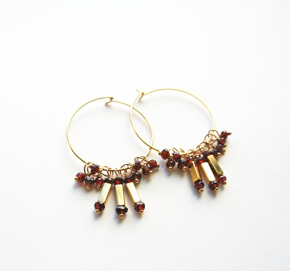 garnet earrings gemstone hoops gemstone jewelry