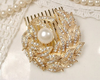 Bridal Leaf Pearl Gold Hair Comb, Clear Rhinestone Brooch to Headpiece Wedding Accessory, Rustic Chic Hairpiece Country Romantic Small Clip