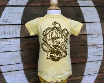Firefly Baby Bodysuit & Toddler T-shirt | I Aim To Misbehave Serenity Bodysuit | Geeky Baby One Piece in Butter Yellow