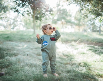 Baby Costume, Personalized Flight Suit, Top Gun Costume, Pilot Costume, Toddler Costume, Baby Aviator, Baby Boy Clothes, Military Costume