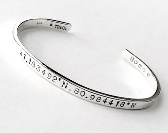 Sterling Silver Coordinate Bracelet . Latitude and Longitude Bracelet . Personalized Gift for Wife, Girlfriend