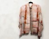 Raw Silk Scarf Shawl/ Wrap Hand-Painted, Shibori, Pink ,Rust  khaki-Green. Blanket Scarf