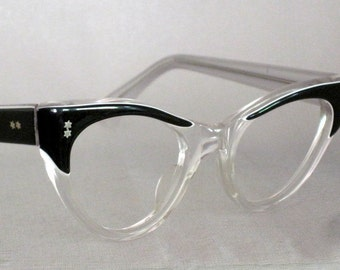 Vintage 50s CatEye Glasses. Black and Clear