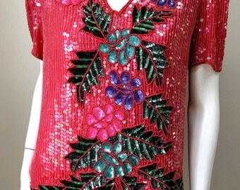 Vintage 1980s Sweelo Disco Raspberry Red Pink Sequin Trophy Top M B40 Blouse Floral Leaves Pearls