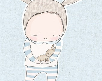Boy Nursery Print, Boys Bedroom Art, Boy Baby Shower Gift, Blue Nursery Decor, Blue Color Bunny Art, Blue Bunny Art Print, Baby Bunny Art