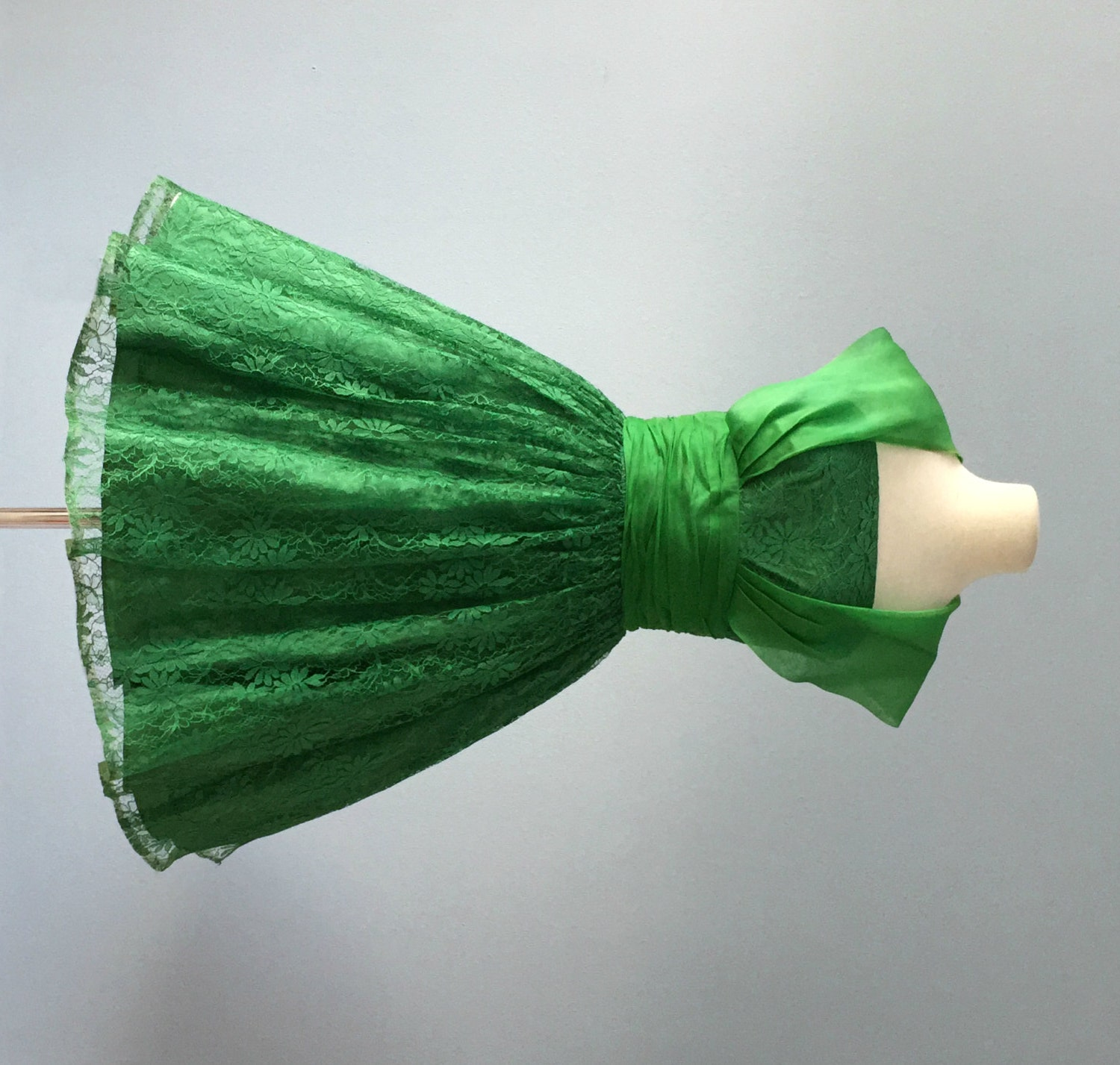 Vintage Wedding Dresses Raleigh Nc: Vintage 1950s Dress...Jr. Theme Green Lace Party Dress