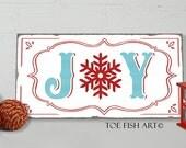 JOY Christmas sign - Chalkboard style- Typography Word Art on Wood