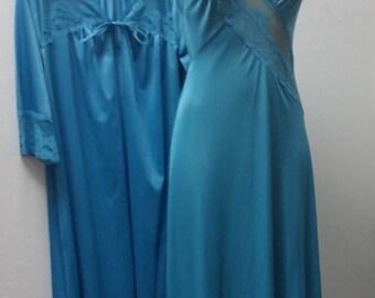 1970s Peignoir Nightgown Set, Wedding Trousseau, by Texsheen, Teal, Size XS/S,  #59442
