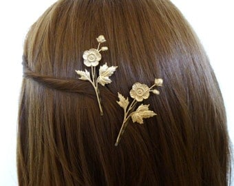 Gold Flower Bobby Pins Bridal Hair Clips Bride Bridesmaid Garden Botanical Nature Rustic Woodland Wedding Accessories Womens Gift For Her
