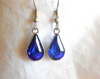 Blue Earrings Rhinestone Earrings Sapphire Teardrop Bezelled September Birthstone Surgical Steel French Hooks