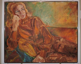 Vintage Mid-century Large IMPRESSIONIST MOD Woman Lounging in ORANGE Outfit Painting c1960-70s