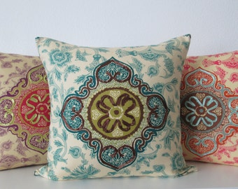 Iman Medina Jasper teal brown medallion designer pillow cover