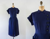 1940s French Sail navy wiggle dress / 40s oldstock