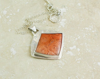 Fossil Coral in Silver Pendant Necklace