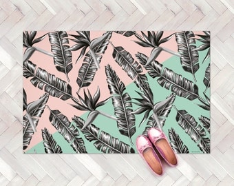 Tropical Leaves Rug, Tropical Decor Kitchen Rug, Pastel Modern Rug, Plants Kitchen Carpet, Decorative Floor Rug, Palm Tree rug, Area rugs