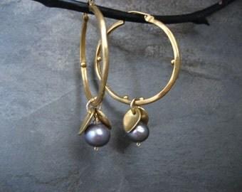 Hoop earrings, pearl hoops, blue pearl dangle, freshwater pearl earrings, leaves dangle, leaf earrings. blue earrings, handmade