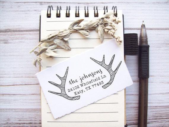 Return Address Stamp Antlers - Custom Rubber Stamp - Deer Horns Rustic Woodland Wedding
