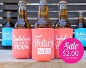 Bachelorette Party Drinking Team, Bachelorette Can Coolers, Coral and Matching Future Mrs. ON SALE