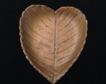 McClelland Barclay Heart Leaf Trinket Dish Pin Tray Bronzed Finish