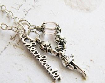 Cheerleader necklace, Charm Necklace, Cheerleader Jewelry, Children's Necklace, Birthday Gift