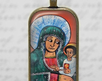 Coptic Ethiopian Virgin Mary Child Jesus Glass Tile Pendant Necklace