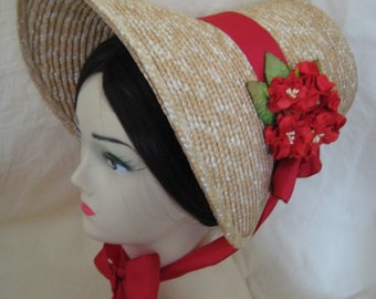 Regency Straw Bonnet. Jane Austen. Scarlet Red Trim