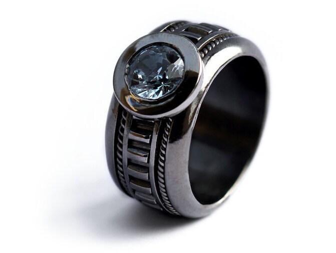 Black Engagement Ring Unique Ring Nautical Blue Aquamarine