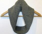 Cowl Infinity Scarf in Grey Alpaca Wool