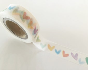Water painting Heart - Washi tape - 15 mm Wide - 10 meters WT790