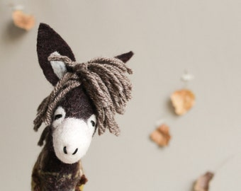 Felt Donkey - Augusto. Art Toy. Felted toy Marionette farm animal Puppet Handmade plush Toys. gift for children. chocolate brown beige.