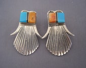 Vintage Sterling Turquoise Spiney Oyster Onyx Zuni Inlay Earrings