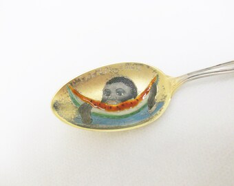 Sterling Silver & Enamel Teaspoon  //