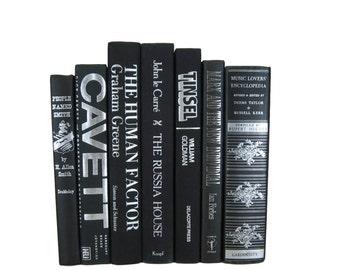 Black Silver White  Decorative Books , Black Vintage Books , Home Decor , Old Books , Vintage Photo Props , Table Setting , Wedding Decor