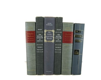 Gray Vintage Decorative Books , Gray Book Home Decor ,  Vintage books for Wedding Decor