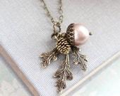 Blush Pearl Acorn Necklace Acorn Charm Pendant Bridesmaids Gift Nature Pinecone Branch Leaf Rustic Oak Woodland Wedding Autumn Jewelry